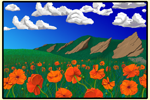 Poppies in front of Boulder Flatirons
